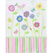 Stupell Industries Pink Bird On Flower Rectangle