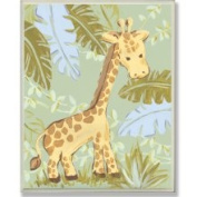 Stupell Industries The Kids Room Giraffe in Jungle Rectangle Wall Plaque