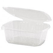 Clear Hinged Deli Container, Plastic, 32oz, 7-1/4 x 6-2/5 x 2-5/8, 100/Bag