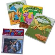 US Toy 12 Mini Dinosaur Colouring Books