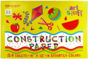 Top Flight Construction Paper, Assorted Colours, 30cm x 46cm , 24 Sheets, Polywrapped