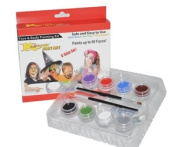 Kustom Body Art Boys Face Paint Set 8 Colour Boxed Set, 3 ml Each, 2 Makeup Brushes. Perfect for Birthday Parties