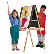 Quartet Double-Sided Masonite Easel, 45 to 130cm Adjustable Height, Includes 4 Easel Clips and 2 Trays, Oak Frame