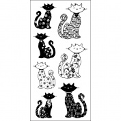 Inkadinkado 453265 Inkadinkado Clear Pattern Stamps 10cm . x 20cm . Sheet-Cats