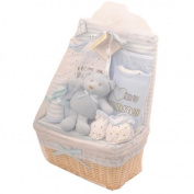 Bee Bo Baby Basket Gift Set 0 - 3 Months - Teddy, Wrap, Bodysuit, Trousers, Bootees, Bib, Wash & Burp Cloths - Pink or Blue