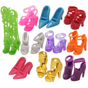 EastVita 10 Pairs of Doll Shoes, Fit Barbie Dolls Multicoloured, 2.5cm