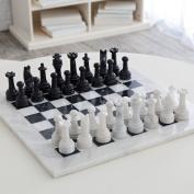 Marble Chess Set - White & Black, 38cm with Deluxe Velvet Box