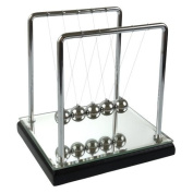 Newton's Cradle - 13cm , Mirror/Wood Base, Black