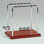 Newton's Cradle with Metal Frame, Balls and Wooden Base - 14cm