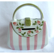 "Ceramic Purse or Handbag Bank - Pink Stripes with Floral Accent - 5.75"" X 5"""