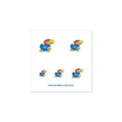 Kansas Jayhawks Official NCAA 2.5cm x 2.5cm Fingernail Tattoo Set by Wincraft