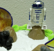 Star Wars 19 Piece Birthday Cake Topper Set Featuring 5 Star Wars Figures, Planets, Stars, Planet Boulders, and Cake Rings