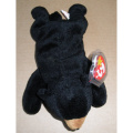 TY Beanie Babies Blackie Bear Stuffed Animal Plush Toy - 23cm long - Black with Brown Nose