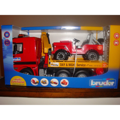 Bruder Action Vehicle Tow Truck Carrying Jeep With Crane And Accessories By Bruder Shop Online