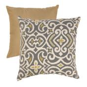 Pillow Perfect 475080 Grey and Greenish-Yellow Damask 45.7cm Throw Pillow