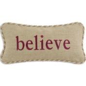'Believe' Gold/ Tan Trim Decorative Pillow