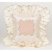Glenna Jean Madison Pillows Mocha Dot Pillow with Ruffle