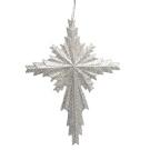 Winter's Beauty Silver Glitter Cross Christmas Ornament