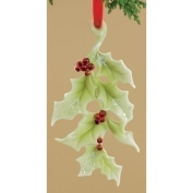 11.4cm Holiday Traditions Porcelain Holly Leaf Christmas Ornament
