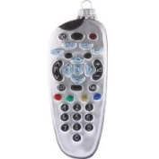 TV Remote Control Man Cave Necessity Glass Holiday Christmas Ornament