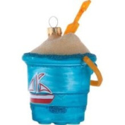 Day at The Beach Blue Bucket of Sand Glass Holiday Christmas Ornament