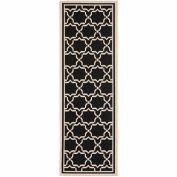 Safavieh Courtyard Collection CY6916-226 Black and Beige Indoor/ Outdoor Runner, 0.6mes by 1.8mes