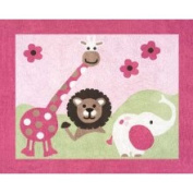 JoJo Designs Pink and Green Jungle Friends Accent Floor Rug