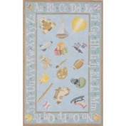 Momeni Rugs LMOINLMI-2BBL2030 Lil' Mo Classic Collection, Kids Themed 100% Cotton Hand Hooked Area Rug, 0.6m x 0.9m, Baby Blue