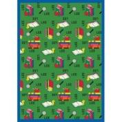 Joy Carpets Just for Kids Bookworm Spanish Green Kids Rug Size