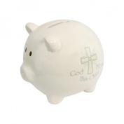 God Bless This Child Piggy Bank, White