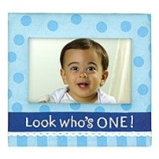 Grasslands Road Boy 1st Birthday Photo Frame Blue Polka Dot