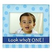 Grasslands Road Boy 1st Birthday Photo Frame Blue Polka Dot