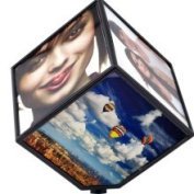 Trademark Revolving Plastic Six-Photo Display Cube (6.5 x 5.875 x 5.875)