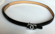 COCO CHANEL Genuine Leather Slim Fashion Dress Belt Black