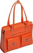 McKlien 96620 Verona 96620- Orange Leather Fly-Through Checkpoint-Friendly Ladies Briefcase