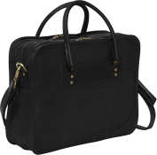 Clava 1165BLK Leather Top Handle Laptop Briefcase - Black