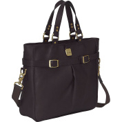 Clava 993CAFE Leather Pleated Buckle Tote - Cafe