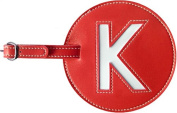 Leather Initial 'K' Luggage Tag Set of 2