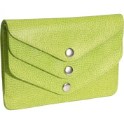 Budd Leather 292380-39 Pebble Grained Leather Triple Flap Wallet - Lime