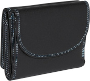 Trifold Multi Color Wallet in Black Rainbow Combination
