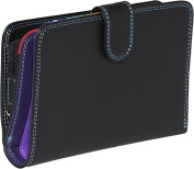 Large Vertical Bifold Multi Color Wallet in Black Rainbow Combination