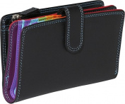 Medium Vertical Bifold Multi Color Wallet in Black Rainbow Combination