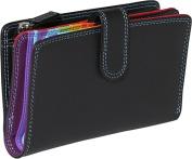 Medium Vertical Bifold Multi Color Wallet in Black Rainbow Combination