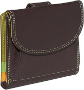 Small French Multi Color Wallet in Black Rainbow Combination