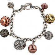 Burnished Silver Chain Toggle Bracelet With Textured Burnished Tri-tone Beads
