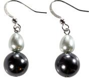 Tonal Grey Baroque Pearl Double Drop Earrings