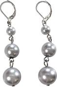 Graduated Triple Drop Grey Pearl Earrings