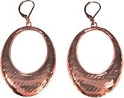 Hammered Copper Oval Hoop Drop Earrings