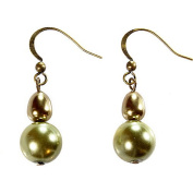 Brown And Green Baroque Pearl Double Drop Earrings