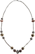 Long Burnished Silver Chain Necklace With Tri-tone Textured Bead Stations